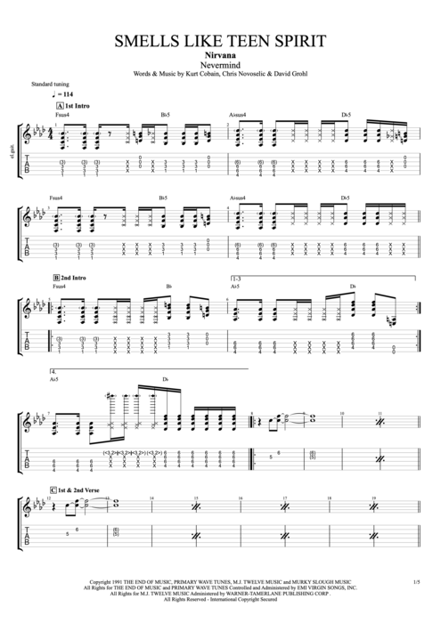 Smells Like Teen Spirit - Nirvana tablature