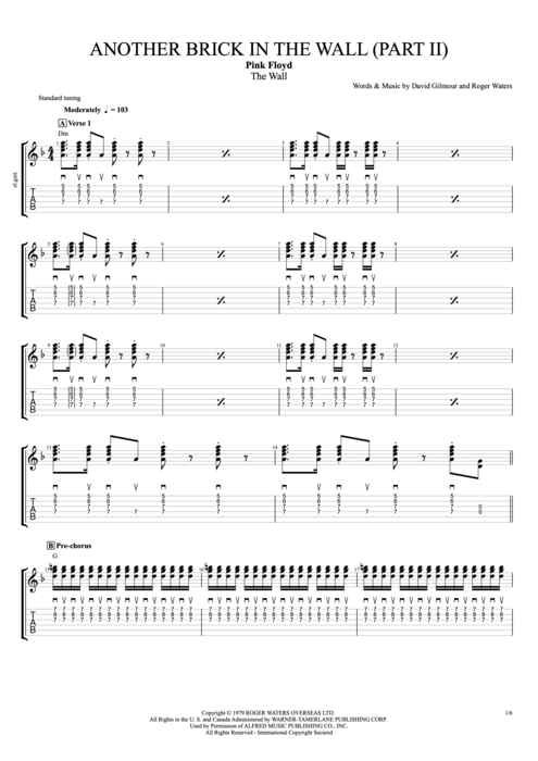 Another Brick in the Wall (Part 2) - Pink Floyd tablature