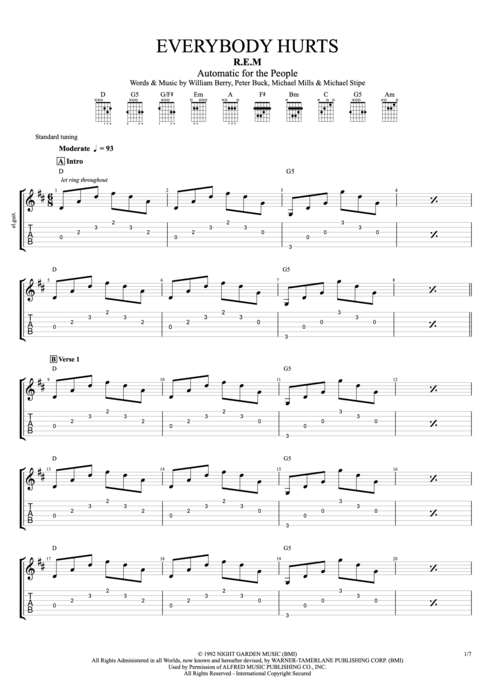 Everybody Hurts - R.E.M. tablature