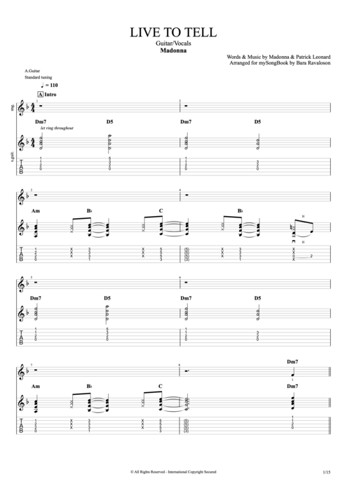 Live to Tell - Madonna tablature