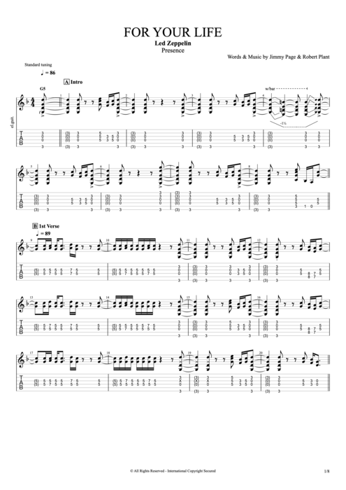 For Your Life - Led Zeppelin tablature